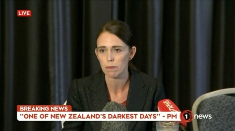 Video grab of New Zealand's Prime Minister Jacinda Ardern speaking on live television following fatal shootings at two mosques in central Christchurch