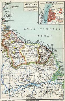 Antique-Map-BRITISH-GUYANA-SURINAM-FRENCH-Meyers-1895