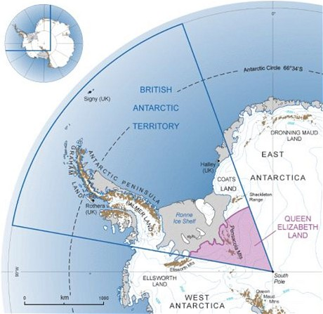 British Antarctic Territory map