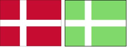 groenland vlaggen naast elkaar