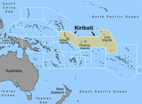Kiribati map met grenzen