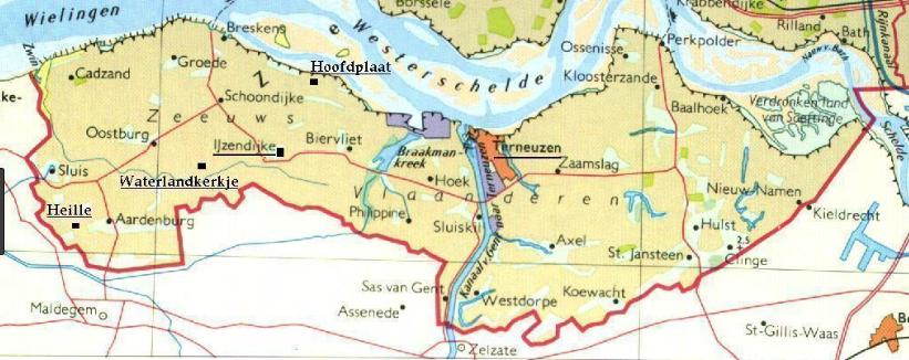 Zeeuws-Vlaanderen kaart