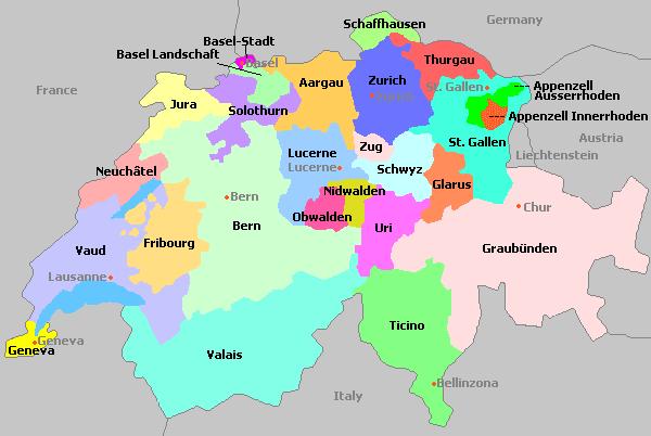 Zwitserland kantons