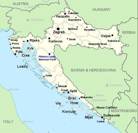 Kroatië map