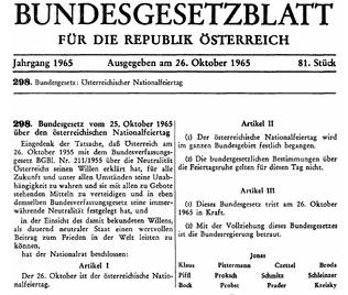 Oostenrijk - Verklaring Neutraliteit